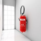 Extinguisher on corridor Stock Photo