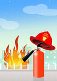 Extinguisher with firefighter hat. Illustration of extinguisher with firefighter hat Royalty Free Stock Image