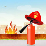 Extinguisher with firefighter hat. Illustration of extinguisher with firefighter hat Stock Photography