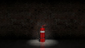 Extinguisher fixed on brick wall Stock Images