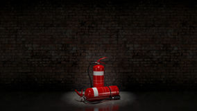 Extinguisher fixed on brick wall Royalty Free Stock Image