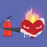Extinguisher and heart Stock Photography