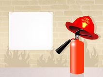 Extinguisher. Illustration of extinguisher with firefighter hat Stock Image
