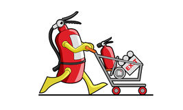 Extinguisher shop mascot Royalty Free Stock Photography