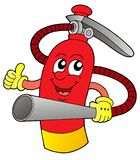 Extinguisher vector illustration. Red extinguisher with hands and face - vector illustration Royalty Free Stock Images