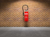 Extinguisher on wall stock image
