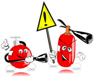 Extinguishers. With sign of warning Royalty Free Stock Images