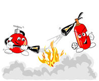 Extinguishers in action. Vector illustration of brave extinguishers in action Stock Photos