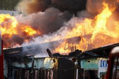 Extinguishing Big Fire Stock Photos