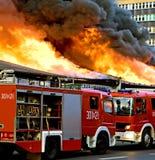 Extinguishing Big Fire Royalty Free Stock Photos
