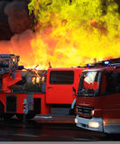 Extinguishing Big Fire Royalty Free Stock Photo