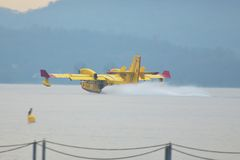 Extinguishing fire with Canadair Royalty Free Stock Images