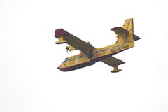 Extinguishing fire with Canadair Stock Photos