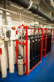 Extinguishing system. Ships Co2 fire extinguisher system installation Stock Images