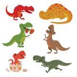Extinto prehistórico despredador jurásico salvaje del tiranosaurio de Dino del vector de los dinosaurios del t-rex del peligro de stock de ilustración