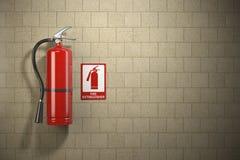 Extintor con la muestra del fuego de la emergencia en el backgroun de la pared stock de ilustración