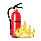Extintor con las llamas Imagenes de archivo