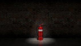 Extintor fijado en la pared de ladrillo Imagenes de archivo