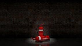 Extintor fijado en la pared de ladrillo Imagen de archivo libre de regalías