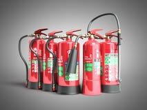 Extintores aislados en diversos tipos del fondo gris de stock de ilustración