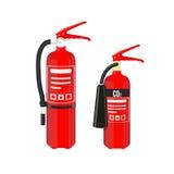 Extintores ajustados no fundo branco Ilustração do vetor Fotografia de Stock Royalty Free