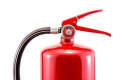 Extintores da cor vermelha do fogo do tanque isolados no fundo branco Imagens de Stock