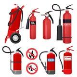 Extintores rojos Las herramientas de los bomberos para la atención que luchaba de la llama colorearon los símbolos del vector par ilustración del vector