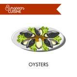 Extotic ostron med salladsidor från europeisk kokkonst vektor illustrationer