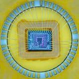 Extrémité étroite de la puce micro de silicium Photographie stock