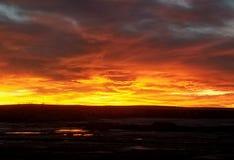 Extrémité brûlante de coucher du soleil Image libre de droits