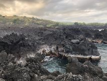 Extrémité d'île de littoral d'Hawaï grande du monde image libre de droits