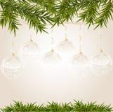 Extrémité d'or avec la bille transparente de Noël Image stock