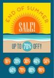 Extrémité de bannière de vente d'été avec l'ensemble de prix discount editable Photos libres de droits