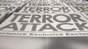 Extrémité de course de presse de terrorisme de journal images stock