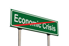 Extrémité de panneau routier de vert des textes de crise économique, plan rapproché d'isolement de Signage de bord de la route, g Photos libres de droits