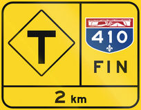 Extrémité de route du Québec - T-intersection Photographie stock libre de droits