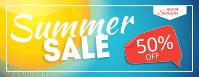 Extrémité de vente d'été de bannière de saison Carte de remise d'affaires Illustration de vecteur illustration stock