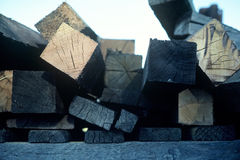 Extrémités de bois de charpente Images libres de droits