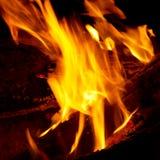 Extrémités de flamme sur le bois de chauffage. Photo libre de droits