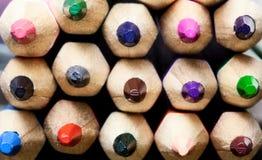 Extrémités multicolores de crayon Photographie stock