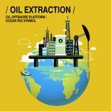 Extração do óleo em cima do mar Foto de Stock Royalty Free