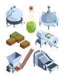 Extração do azeite Grego traseiro e vetor verde da fabricação da imprensa do alimento da exploração agrícola da indústria da prod ilustração royalty free