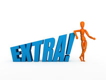 Extra!. Orange mannequin and word - extra. Isolated Stock Photography