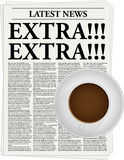 Extra!!!. The newspaper with a headline Extra!!! and a cup of coffee royalty free illustration