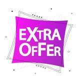 Extra Aanbieding, de ontwerpsjabloon van de verkoopbanner, kortingsmarkering, vectorillustratie stock illustratie