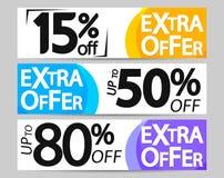 Extra Aanbieding, vastgestelde de bannersontwerpsjabloon van het verkoopweb, 15% 50% 80% weg, vectorillustratie stock illustratie