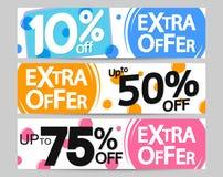 Extra Aanbieding, vastgestelde de bannersontwerpsjabloon van het verkoopweb, 10% 50% 75% weg, vectorillustratie stock illustratie