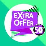 Extra aanbieding, 50% weg, de ontwerpsjabloon van de verkoopmarkering, kortingsbanner, vectorillustratie vector illustratie