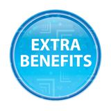 Extra Benefits floral blue round button. Extra Benefits Isolated on floral blue round button stock illustration
