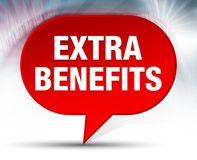 Extra Benefits Red Bubble Background. Extra Benefits Isolated on Red Bubble Background stock illustration